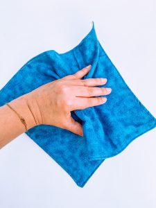 Reusable Paper Towel Being Used to Wipe Counter