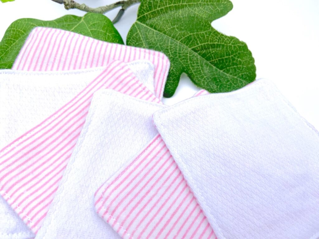 Pink and white striped cotton rounds