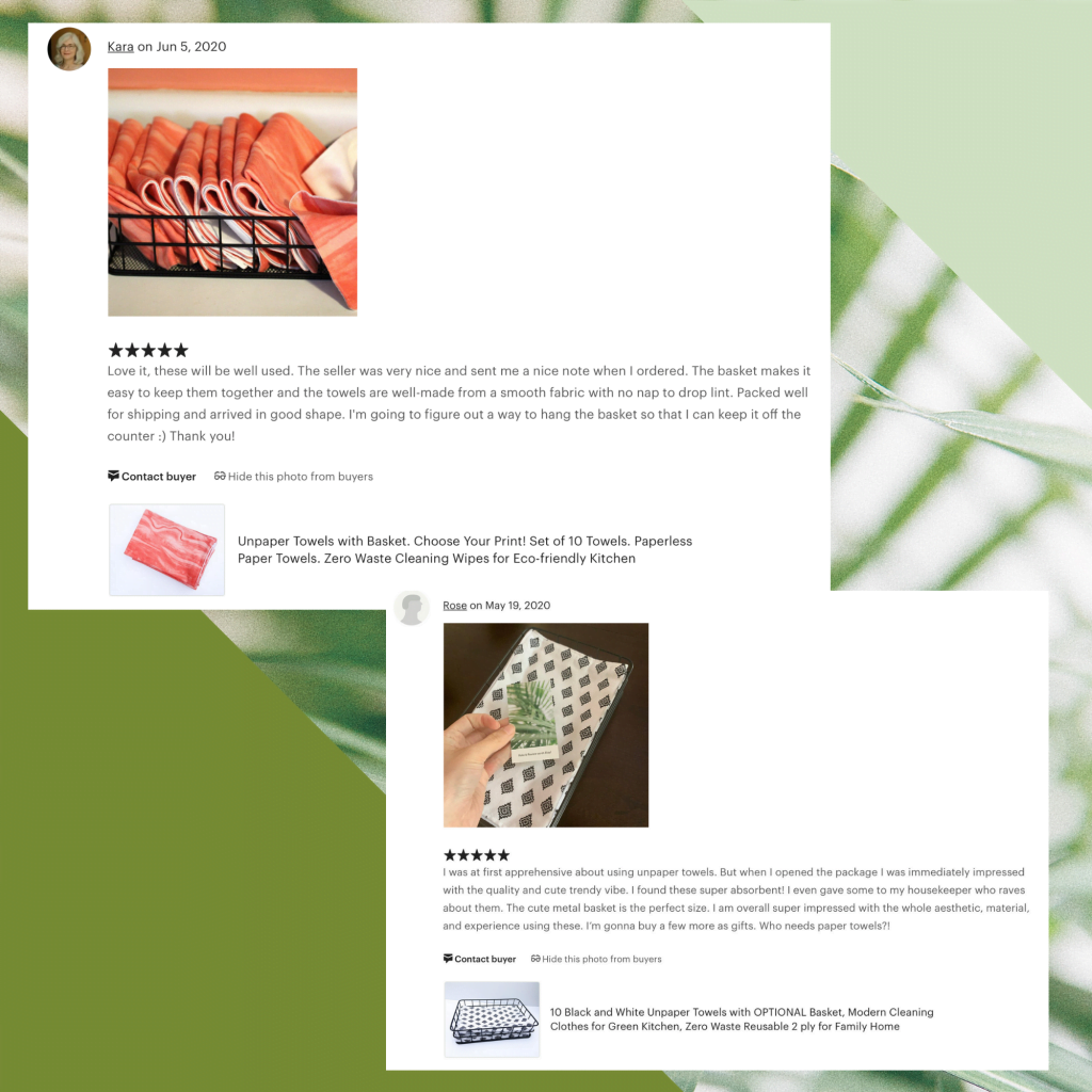 Two recent Etsy reviews: both 5 stars with pictures