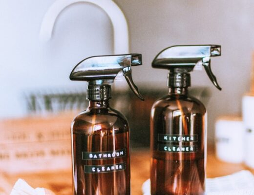 Natural household cleaners with spray bottles